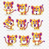 Cartoon tiger with different poses and expressions.