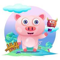 Tarjeta de felicitación Cute Cartoon Pig vector