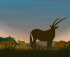 Silhouette of deer on plain