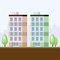 Cartoon buildings in city