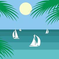 Bateaux minimalistes sur l'océan