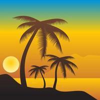 Palme sull'isola al tramonto