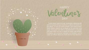 Valentine's day card with cute cactus