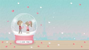 I love you greeting with cartoon boy and girl