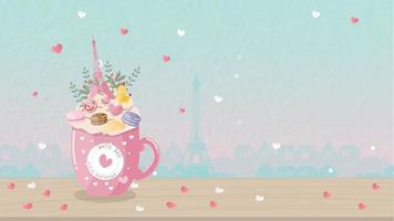 Decorative coffee cup and Eiffel tower vector