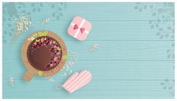 Flat design chocolate and berries dessert