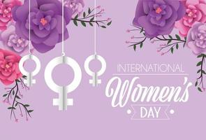 women sign hanging with roses to womens day celebration vector