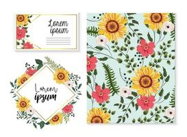 set card and label with sunflowers and branches leaves vector