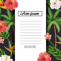 tropical card with flowers and exotic leaves