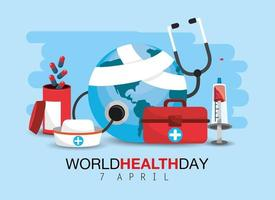 world health day with medicine treatment