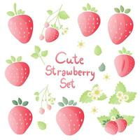 Set of strawberry in different shapes vector