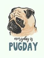 Cartoon pug dog poster