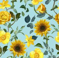 Yellow flower seamless pattern vector