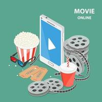 Online movie flat isometric low poly