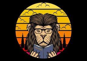 lion lisant sur fond de coucher de soleil