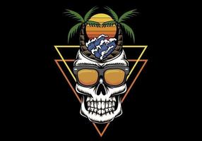 Skull vacation beach sunset retro  illustration
