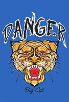Danger slogan with tiger head