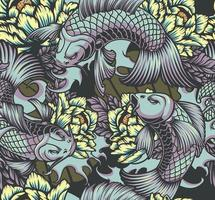 Japanese style seamless color pattern with koi carps