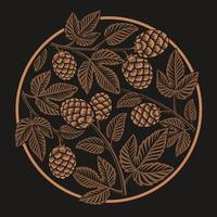 Motif houblon rond vintage, design pour le thème de la bière vecteur