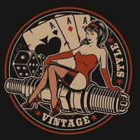 Illustrazione con la pin-up su una candela