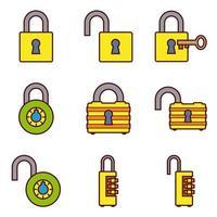 Conjunto de iconos de cerraduras de color