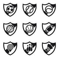 Different Sport Shields Icon Set