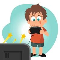 Kid playing videogame focused on a v