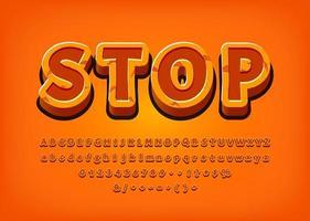 Pare o efeito de texto em 3d do jogo do alfabeto
