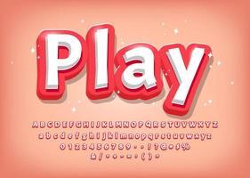 Alfabeto 3d moderno, título de estilo cómico vector