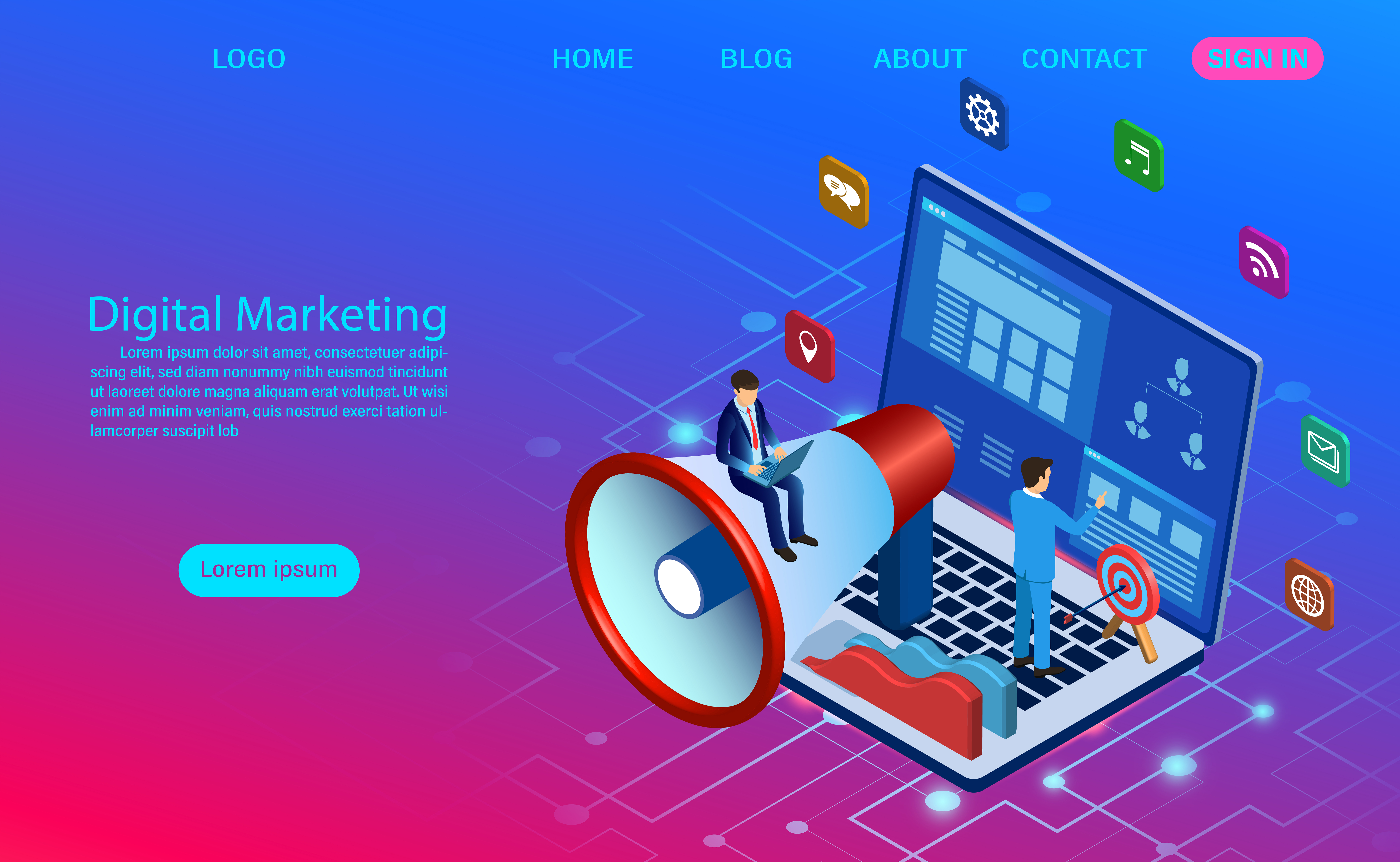Digital Marketing Concept For Banner And Website Landing Page Download Free Vectors Clipart Graphics Vector Art