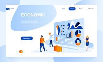 Wirtschaftliche flache Landingpage-Vorlage mit Header