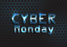 Cyber Monday background with metallic text on hexagonal pattern