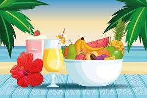 smoothies and fruit bowl vector