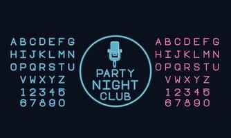 Neonlicht-Alphabet-Schriftart
