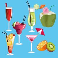 Summer cocktails and fruits icons vector