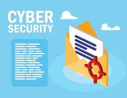 cyber security with envelope and document vector