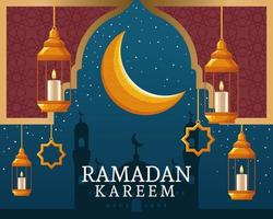 ramadan kareem with waning moon and islamic art