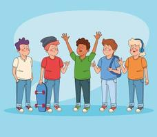 Adolescentes amigos que se divierten dibujos animados