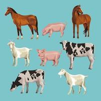 farm animals cartoons vector