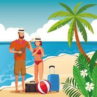 Sommerpaare in der Strandkarikatur