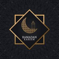 Ramadan Kareem com lua minguante e arte islâmica