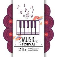 piano keyboard instrument to music festival vector
