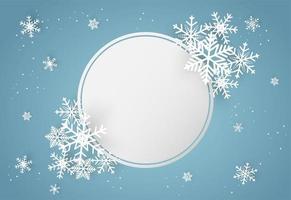 Natale e felice anno nuovo sfondo blu vettoriale con fiocco di neve