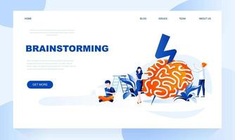 Brainstorming vector landing page template with header