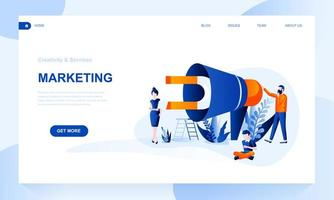 Marketing vector landing page template with header