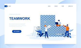 Teamwork flat landing page template with header