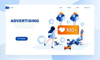 Advertising vector landing page template with header