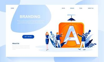 Branding vector landing page template with header
