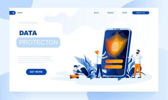 Data protection vector landing page template with header