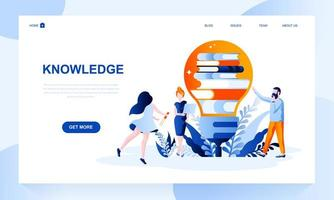 Knowledge vector landing page template with header